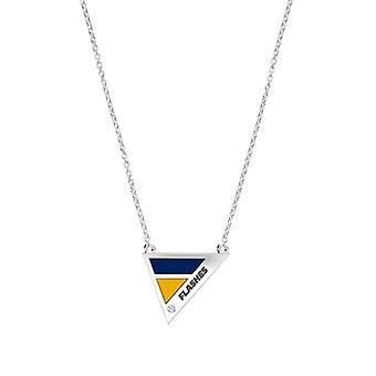 Kent State University Engraved Sterling Silver Diamond Geometric Necklace In Blue & Yellow