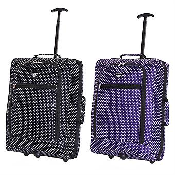 Slimbridge Montecorto Set of 2 Cabin Luggage Bags, (Set of Black Dots and Purple Dots)
