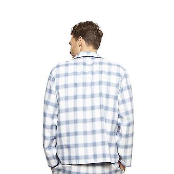 Cyberjammies 6423 män ' s Harper Blue mix kontrollera bomull Långärmad pyjamas topp