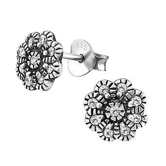 Flower - 925 Sterling Silver Cubic Zirconia Ear Studs - W30814X