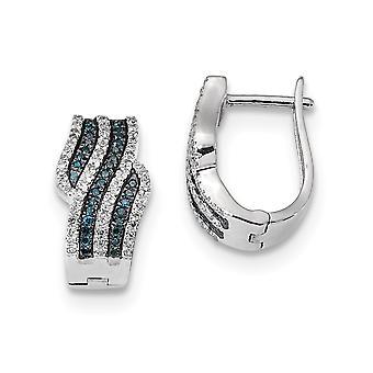 925 Sterling Zilver gepolijst Prong set Gift Boxed Hinged hoepel Rhodium verguld blauw en wit diamanten oorbellen Sieraden Gif