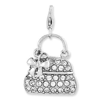 925 Sterling Silver Reversible Fancy Lobster Closure Enameled 3 d Purse With Lobster Clasp Charm Pendant Necklace Jewelr