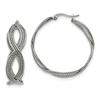 Stainless Steel Textured Polished 35mm Twisted Hoop Earrings Jewelry Gifts for Women