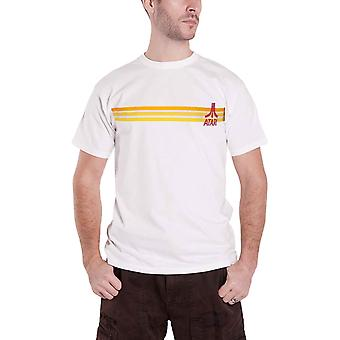 Atari T Shirt Classic Striped Logo new Official Retro Gamer Mens White