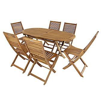 Charles Bentley FSC Acacia Wooden Furniture Patio Oval Table & 6 Chairs (7 Piece Set)