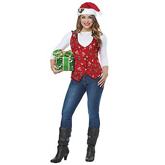 Holiday Red Vest Hat Clip Christmas Santa Claus Festival Womens Costume Kit