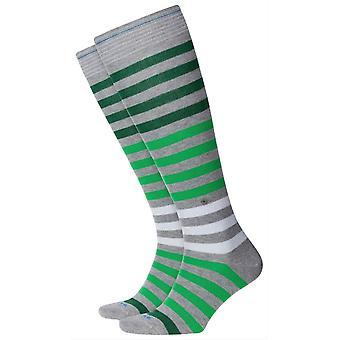 Burlington Blackpool rayas rodilla calcetines altos - gris claro / verde