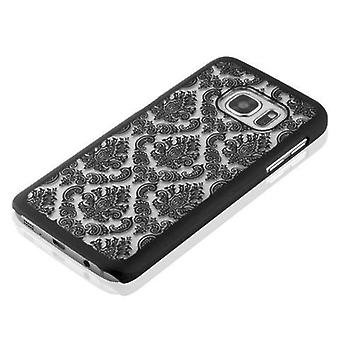سامسونج غالاكسي S7 حالة هاردكيس في الأسود من قبل Cadorabo - الأزهار بيزلي الحناء تصميم حالة واقية - الهاتف حالة الوفير الغطاء الخلفي القضية