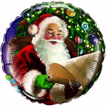 Qualatex Santas Christmas List Festive Round Foil Balloon