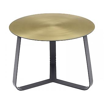 Libra Furniture Shiny Brass Small Circular Coffee Table With Black Legs