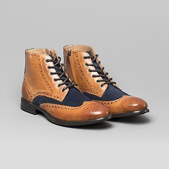 Mister Carlo Leonardo Mens Leather Brogue Ankle Boots Tan/navy