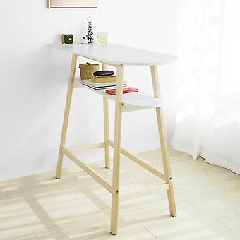 Wood Bar Table Kitchen Breakfast Bar Table with Storage Shelf, SoBuy® FWT59-WN