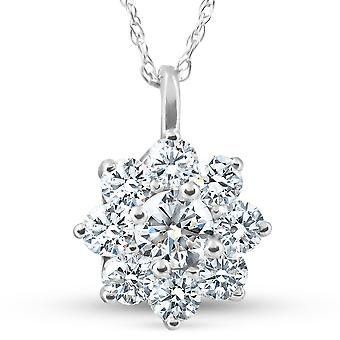 5/8Ct Diamond Halo Wisiorek White Gold Lab Grown IGI Certified Necklace (HI, SI)