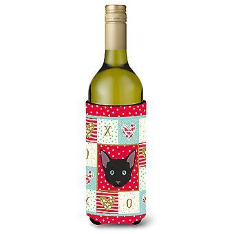 Russian White Black Cat Wine Bottle Beverage Insulator Hugger