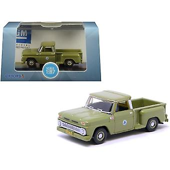 1965 Chevrolet C10 Stepside Bell System Pickup Truck Green 1/87 (HO) Scale Diecast Model Car by Oxford Diecast