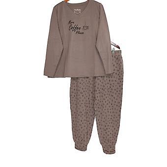 Anybody Women's  Pajama Set Cozy Knit Taupe Beige A345310