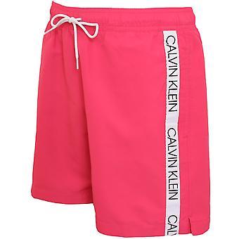 Calvin Klein Bonded Logo Tape Swim Shorts, Jewel Pink