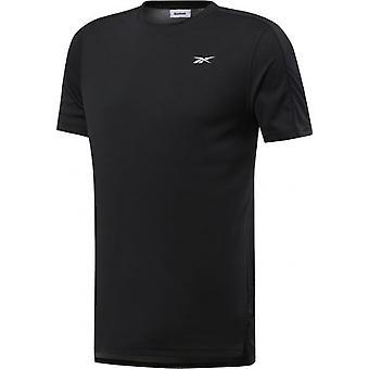 リーボックワーSSテックティーブラックFK6188トレーニング一年男性Tシャツ