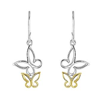 Dew Sterling Silver Double Butterfly Gold Plate Drop Earrings 68076GD