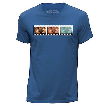 STUFF4 Herren Runde Hals T-Shirt/Film Strip / Tier / Lion/Königsblau