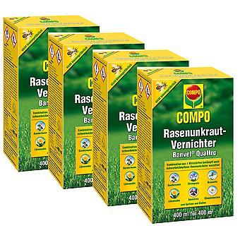 Sparset: 4 x COMPO Lawn Weed Killer Banvel® Quattro, 400 ml