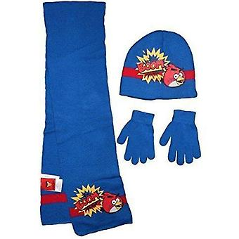 Angry birds boys hat scarf and gloves
