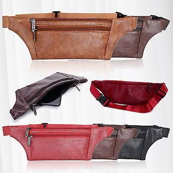 Fanny pack, flat belt bag made of faux leather, leisure hip bag, Sport Flat