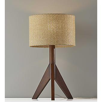 Natural Chunky Tripod Walnut Wood Table Lamp