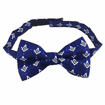 Masonic regalia 100% silk woven bow tie with square compass & g blue