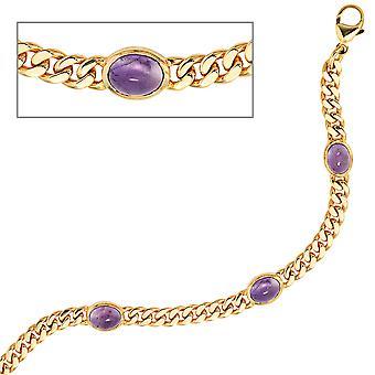 Náramek 585 Zlaté žluté zlato 19cm 4 Ametyst Chabochons Fialový fialový zlatý náramek