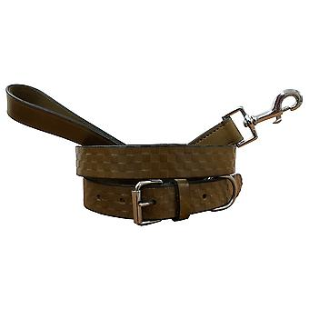 Bradley crompton genuine leather matching pair dog collar and lead set bcdc5khakibrown