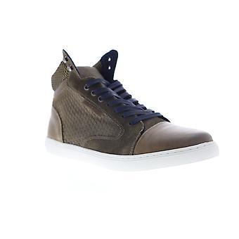 Robert Wayne Gunther  Mens Brown Leather High Top Sneakers Shoes