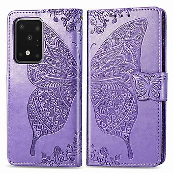 Per Samsung Galaxy S20 Ultra Case, Butterfly PU Leather Wallet Cover con Lanyard & Stand, Light Purple