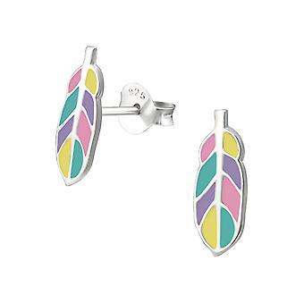 Pluma - 925 plata esterlina colorido zarcillos - W33540x