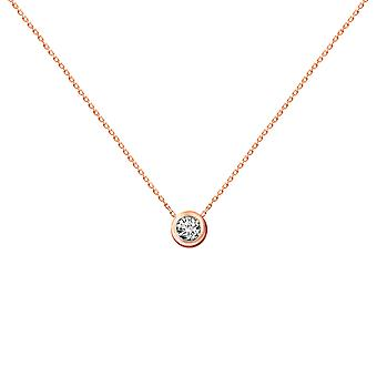 Baby Necklace Diamond Solitaire 0.10 carat et 18K Or - Rose Gold