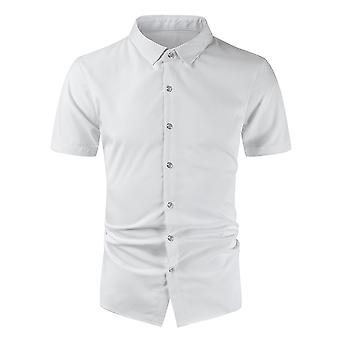 Allthemen Men's Straight Loose Style Casual Short Sleeved Cotton Polyester Shirt