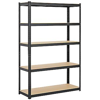 Heavy Duty 5 Tier Garage Shelving Units Metal Storage Shelves Utility Rack,180cm x 90cm x 60cm,175KG Per Shelf,Black