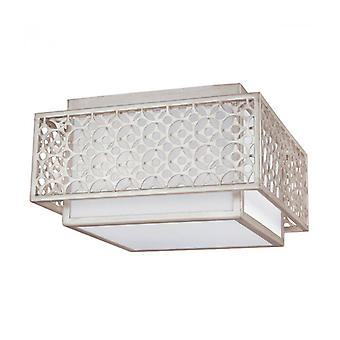 Kenney Ceiling Lamp, White Canvas And Golden Gray Frame, 2 Lights