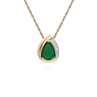 Classic Pear Emerald & Diamond Tear Drop Pendant Necklace in 9ct Yellow Gold 135P1913039