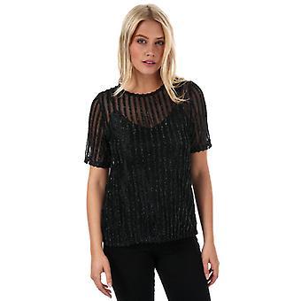 Mujeres's Vero Moda Shane Sparkle Stripe Top en Negro