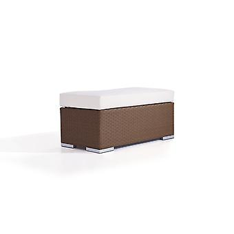 Polyrattan Cube kruk 45 cm - nootbruin