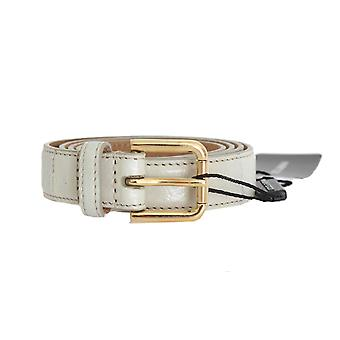 Dolce & Gabbana Gray Leather Gold Buckle Belt