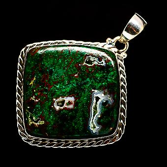 """Chrysocolla 2"""" (925 Sterling Silver) - Handmade Boho Vintage Jewely PD730079"""