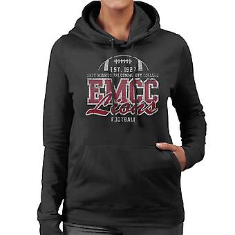 East Mississippi Community College Distressed Lions Football Women's Hooded Sweatshirt