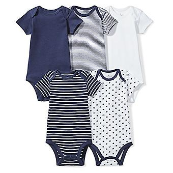 Moon and Back Baby Set of 5 Organic Short-Sleeve Bodysuits, Navy Sea, Preemie