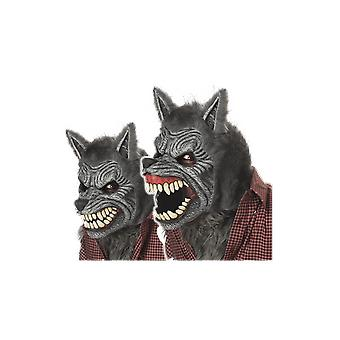 Adult Grey Werewolf Ani-Motion Mask Halloween Fancy Dress Costume Accessory
