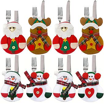 8pcs Christmas Decorations Snowman Santa Claus And Reindeer Kitchen Tableware Holder Cutlery Bag