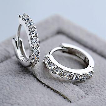 Crystals Huggie Hoop Earrings - Silver