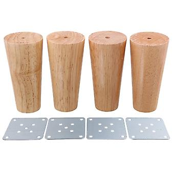 4pcs Wood Cone Furniture Foot Leg Feet 12*6*4cm