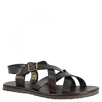 Leonardo Shoes Men's handmade sandals in black calf leather with crossed bands and side buckle closure